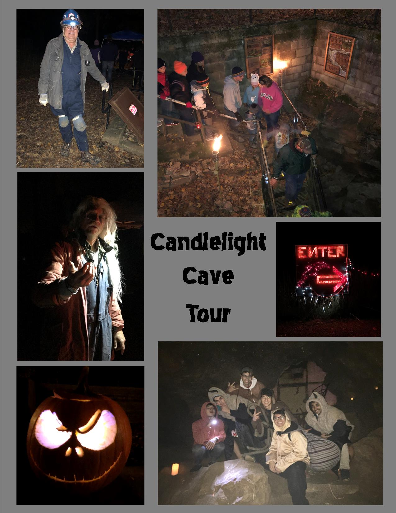 A poster showing photos from the Candlelight cave tour. Some are pictures of characters in costume,