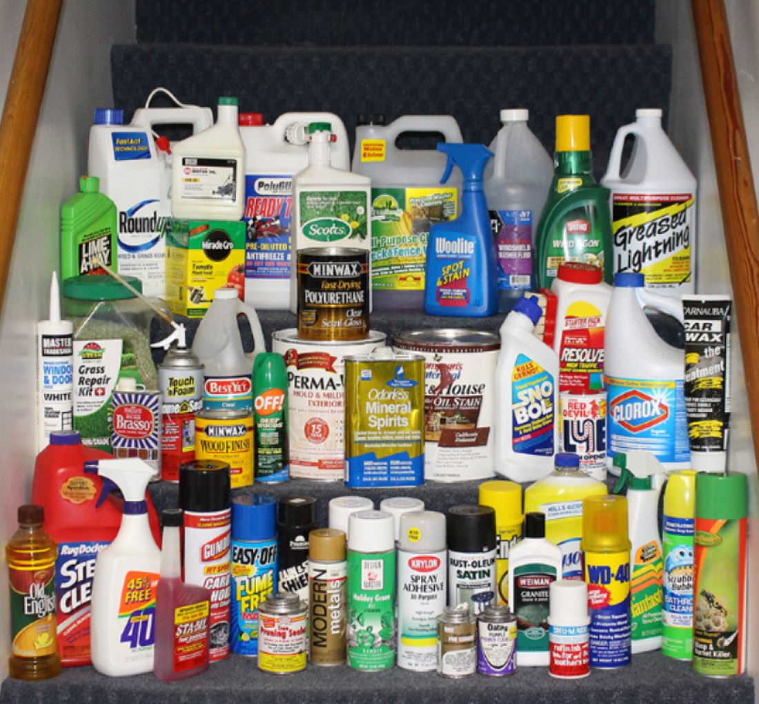 Household Hazardous Waste items on steps.
