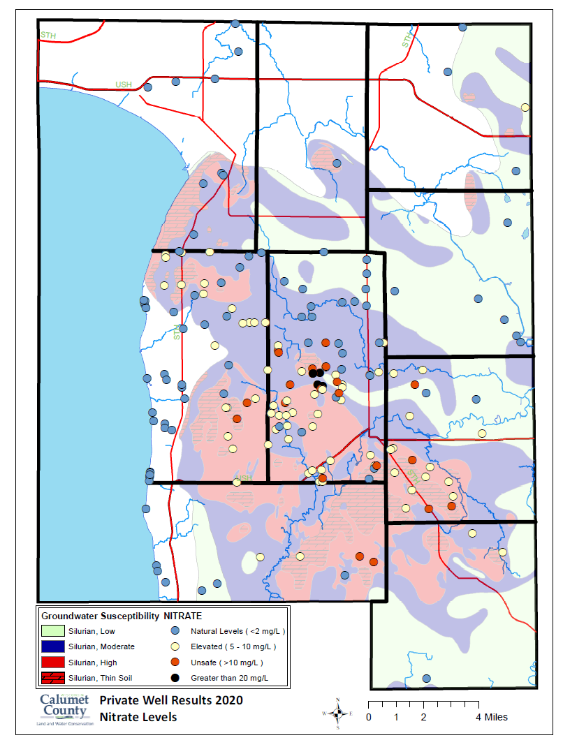 Map of Nitrate Levels found in private wells in Calumet County in 2020